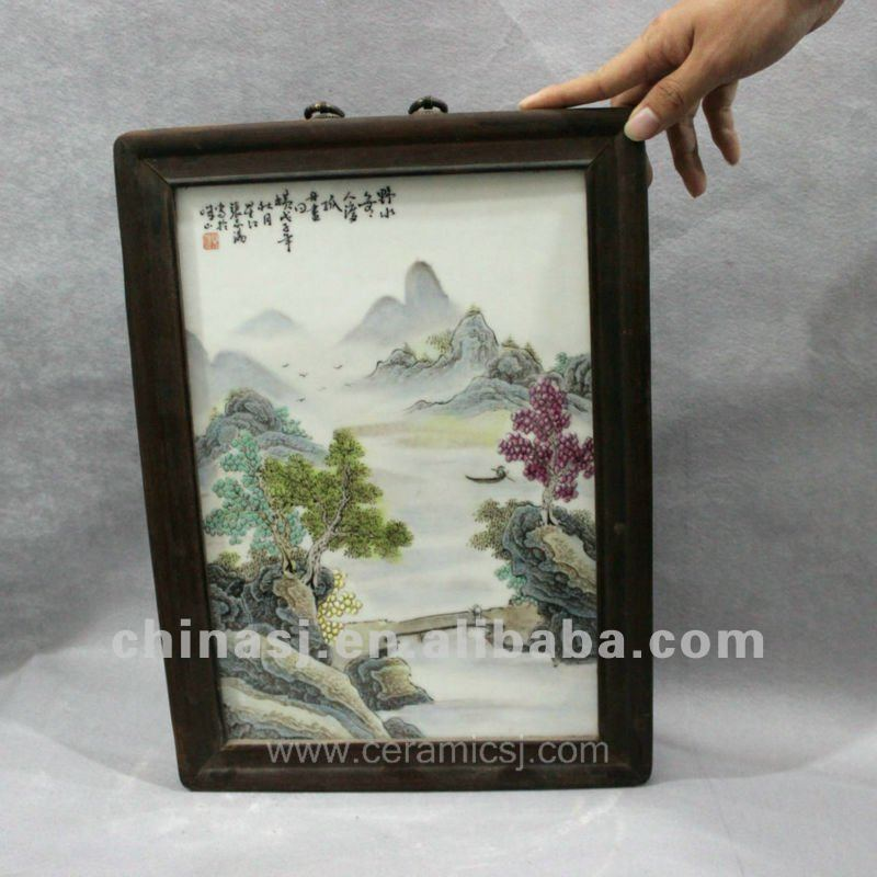 handmade wucai landscape ceramic home wall decoration RYHS09