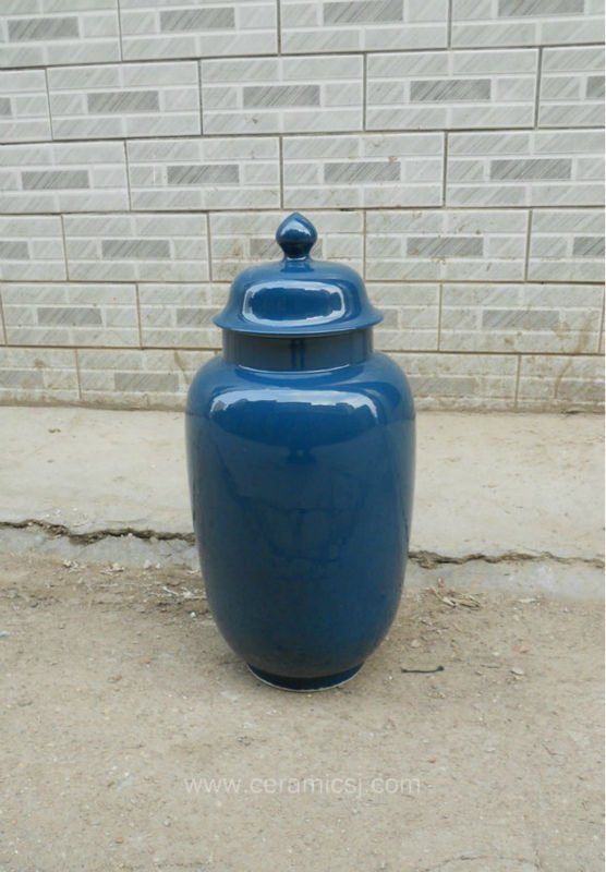 navy blue ceramic ginger jar WRYKB93