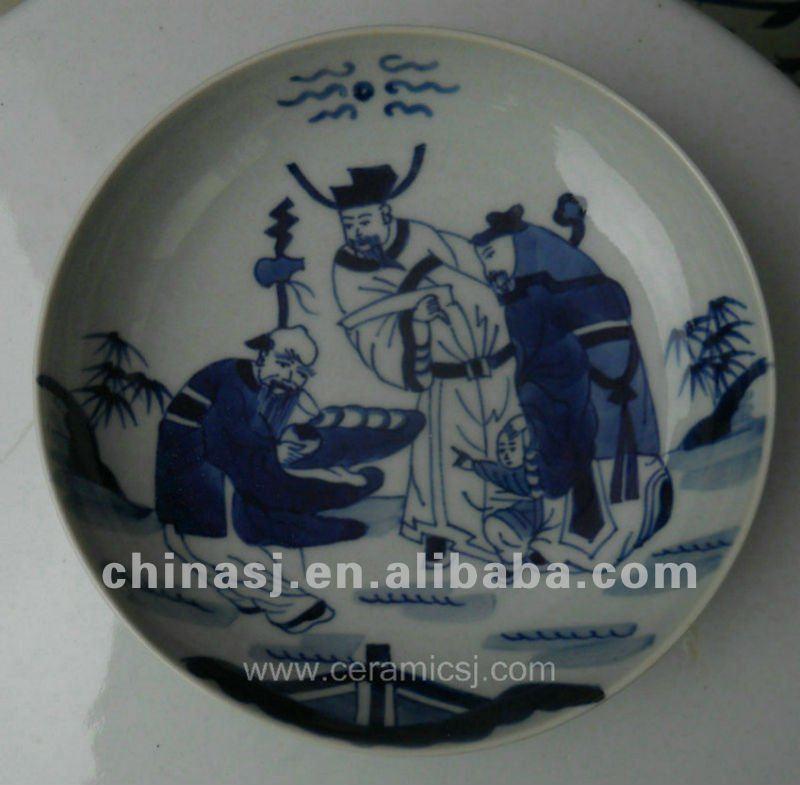 unique blue and white Ceramic Decor Plate WRYV94