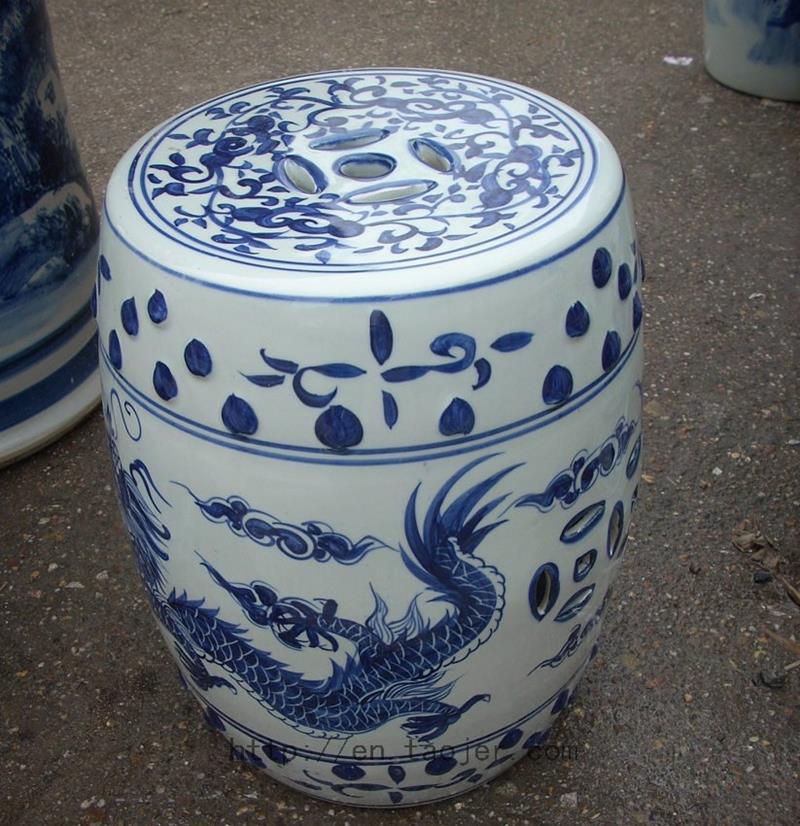 antique Blue and White dragon Ceramic Stool RYAZ320