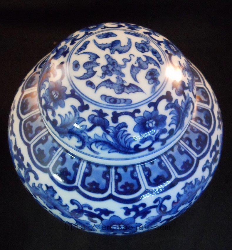 Blue and White Ceramic Tea Caddy RYDD07