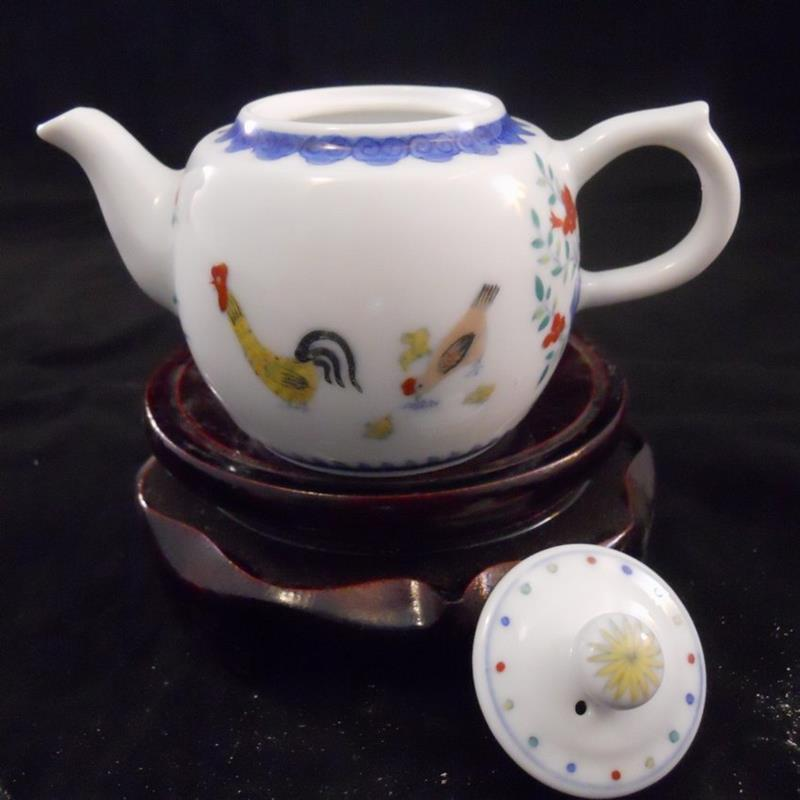 9pcs chicken and flower design porcelain tea sets