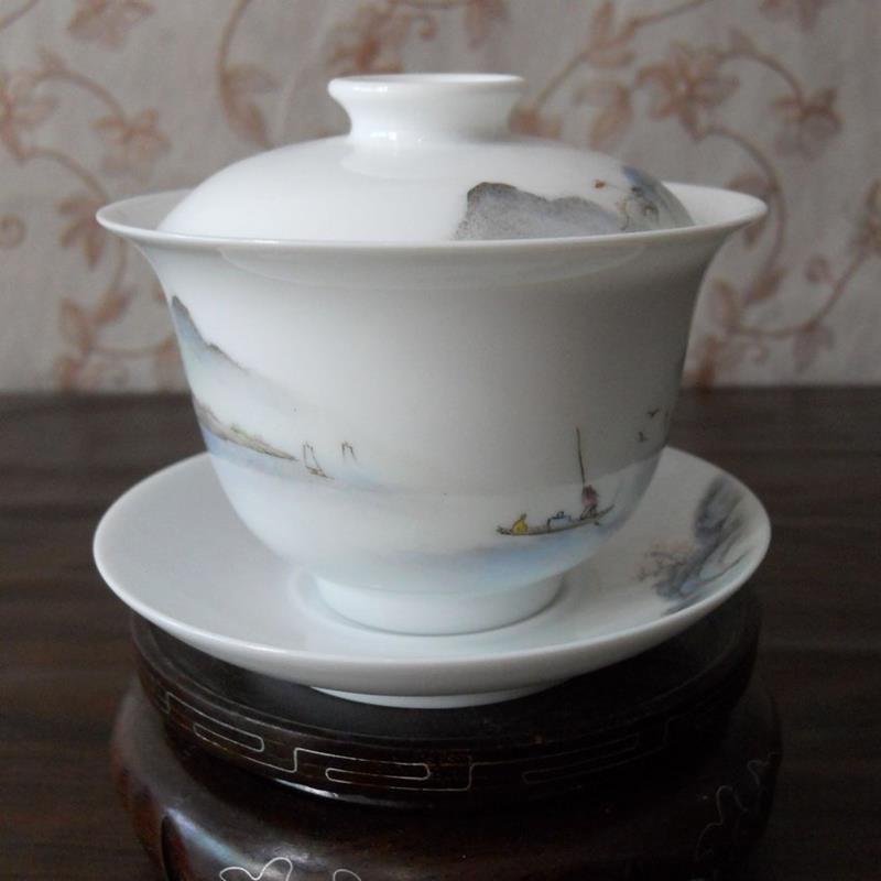 Porcelain Gaiwan Landscape tea cup WRYAG35