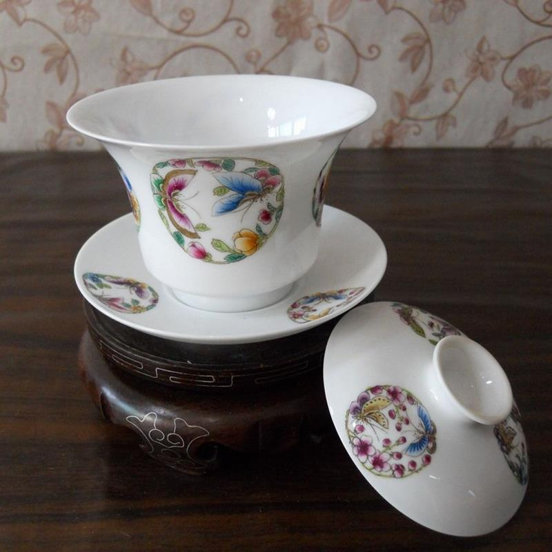 Porcelain Gaiwan butterfly and flower WRYAG37