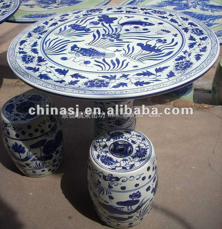 Chinese porcelain Garden Table and stool WRYAY18
