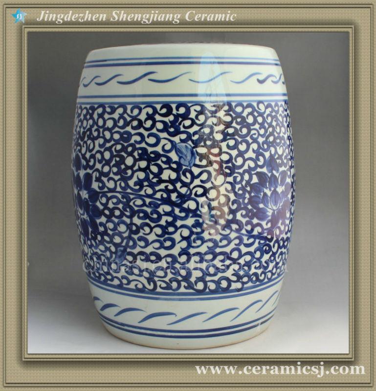 Blue & White Floral Garden Stool 17