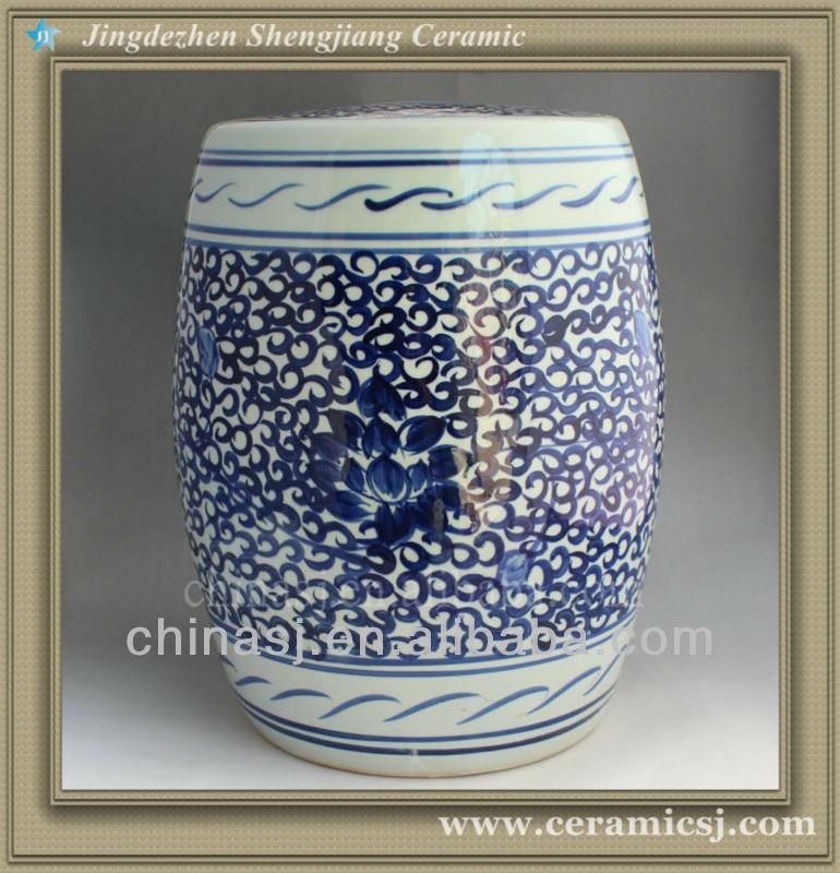 Sensational Blue White Floral Garden Stool 17 Tall Wryon05 Uwap Interior Chair Design Uwaporg