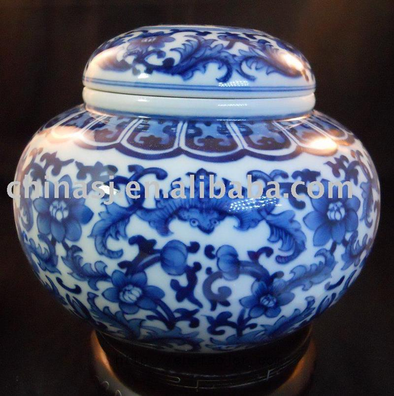 Blue And White Ceramic Tea Caddy Rydd07 Jingdezhen