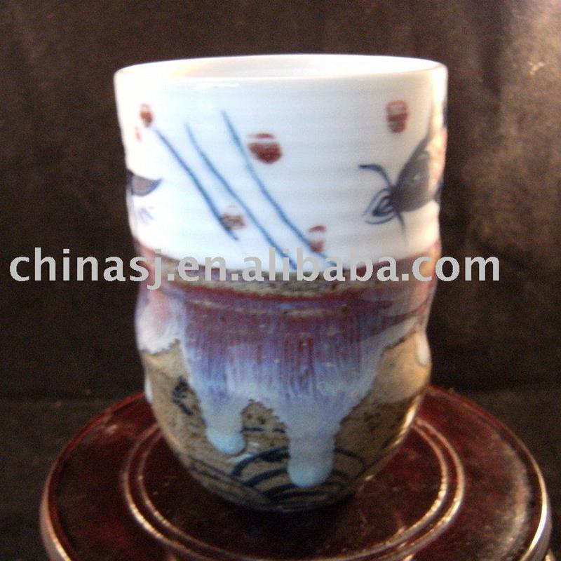 Ceramic Coffee Cup Hand Painted copper-red fish