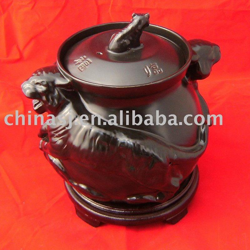 Ceramic soup pot, stock pot, kitchenware Black tiger