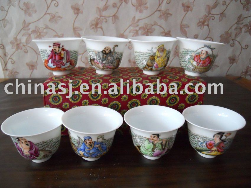 Chinese Porcelain Cups Eight Immortal S Story Wryag32