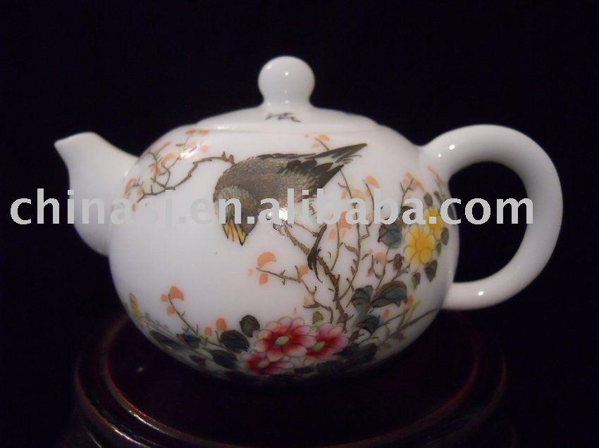 Chinese Porcelain tea pot with flower bird design WRYB04