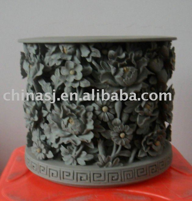 Chinese Traditional hand engraved flower ceramic Pen Holder WRYNG04