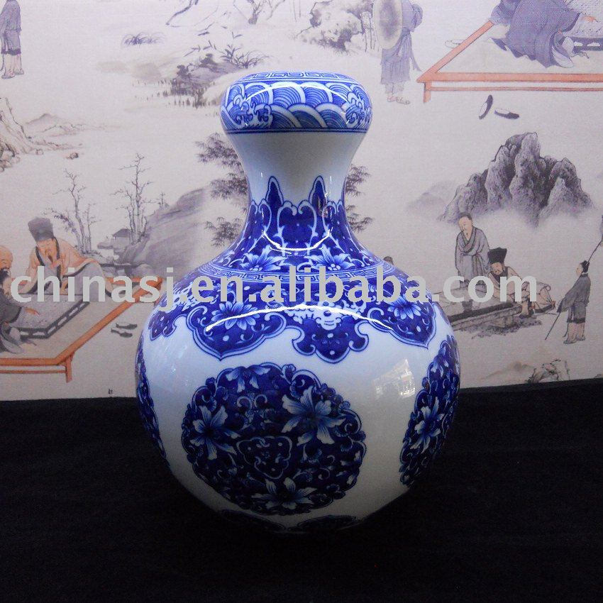 Chinese hand made blue and white Porcelain Vase WRYBB78