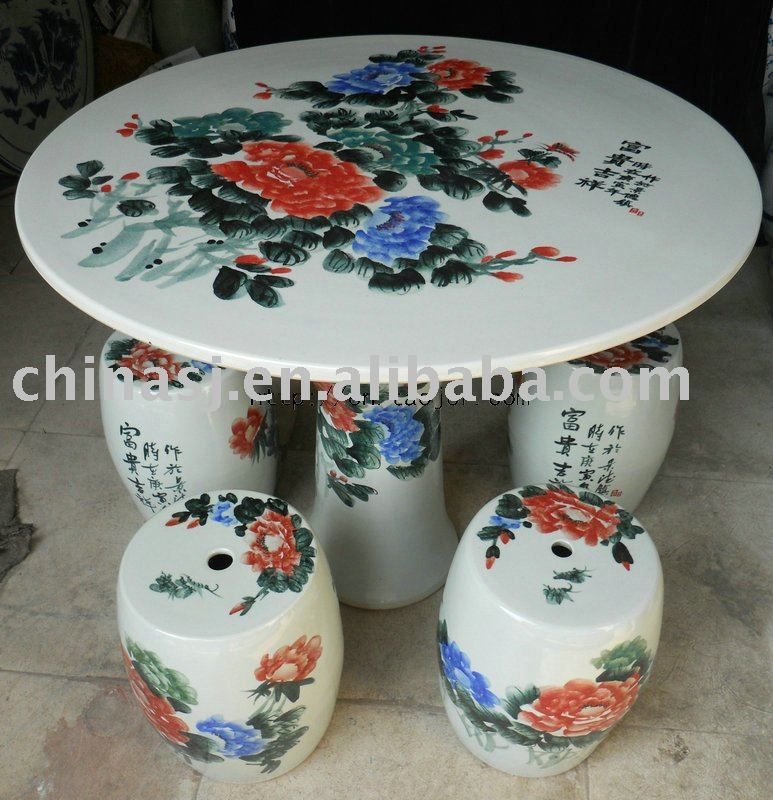 Chinese peony ceramic garden table stool WRYAY20