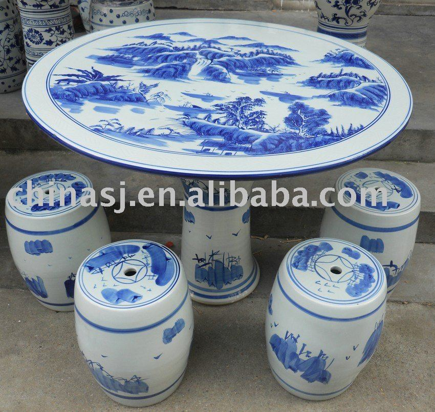 Chinese Porcelain Garden Table And Stool WRYAY18 | Jingdezhen Shengjiang  Ceramic Co., Ltd.::jingdezhen Hand Painted Ceramics Porcelain