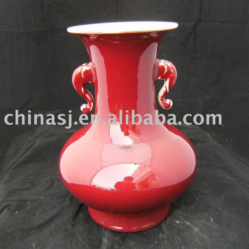 Elephant ears Red Porcelain Vase