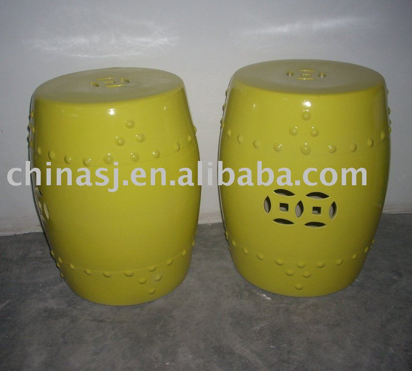 HOT SELL Yellow Glazed Porcelain Garden Stool WRYDB02