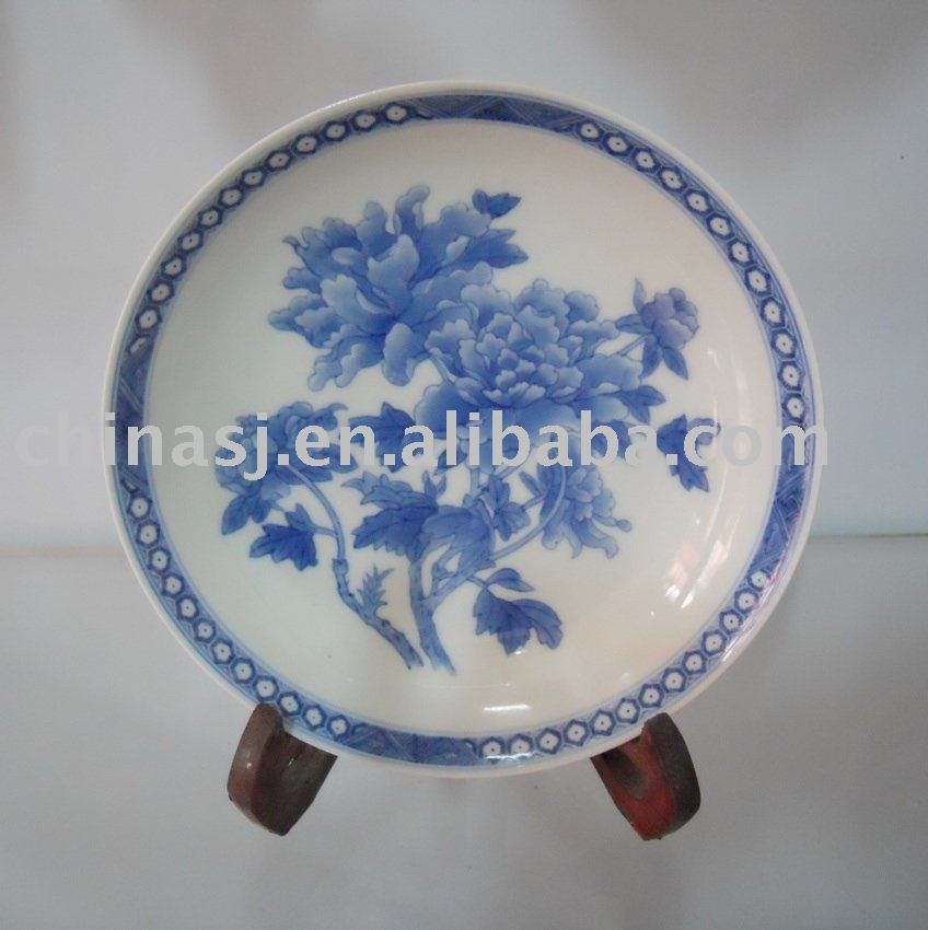 Handmade blue and white porcelain plate WRYAS61