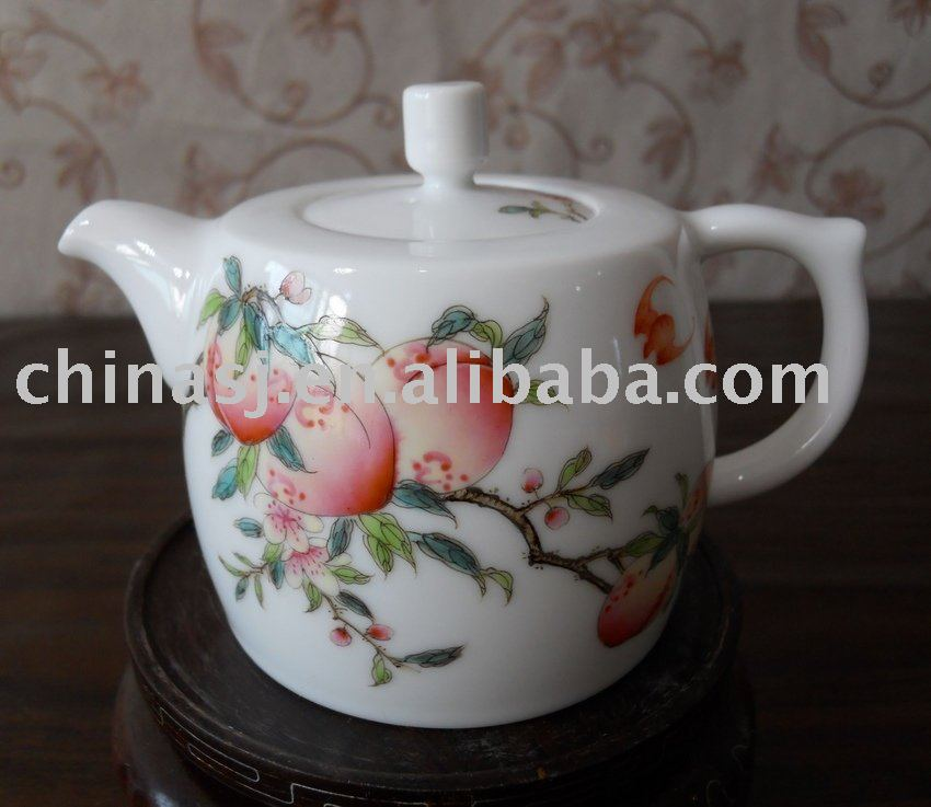Lovely peach porcelain tea pot WRYAG39