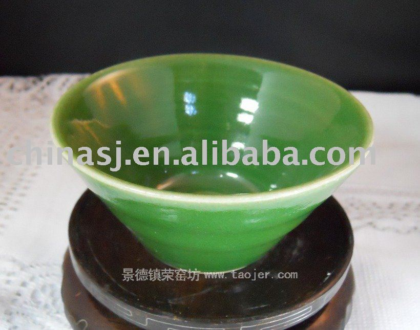 Porcelain Green Glazed Bowl Tea Cup RYGZ04