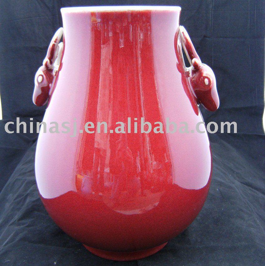 Porcelain Vase red color with deer ears