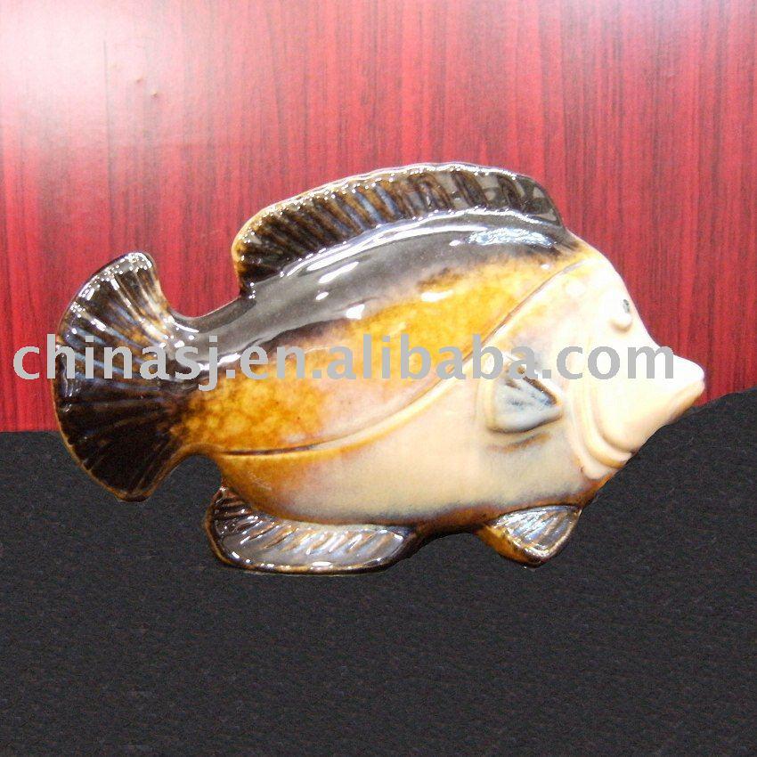 Porcelain figurine Fish yellow and black WRYEQ12