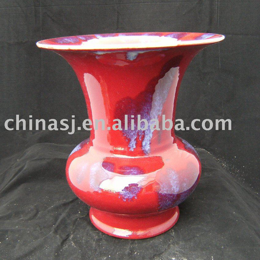 Red with purple ceramic vase
