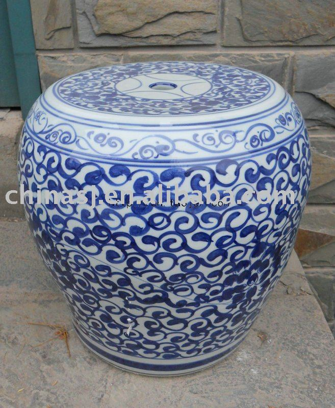 blue and white Ceramic Garden Stool WRYLY07