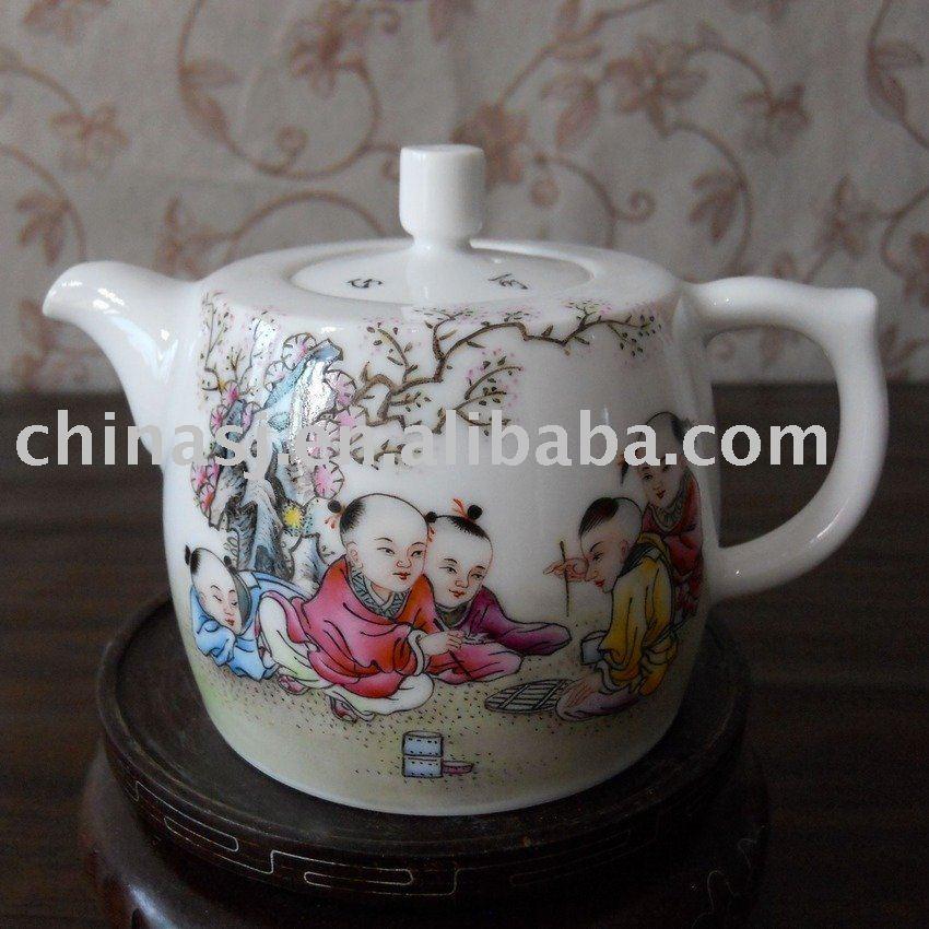 porcelain tea pot with five happy young boy design WRYAG41
